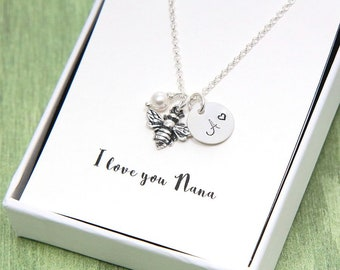 SALE, Mother Necklace, Mom Necklace, Silver Bee Necklace, Honey Bee Necklace, Queen Bee, Personalized Initial Necklace, Birthstone Necklace