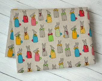 Bunny linen fabric, Linen cotton blend fabric, Easter fabric, Rabbit fabric, Cotton canvas fabric, Organic linen fabric, Sewing fabric