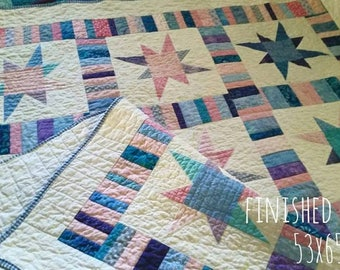 Quilts for Sale, Homemade  Lap Size Quilt, Handmade Star Quilt, Homemade Throw  quilt, Finished Quilt, 53 X 65,  Quilts By Taylor,