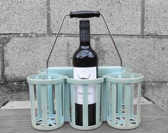 Wine Bottle Holder Mid Century Kitsch Blue 1960s