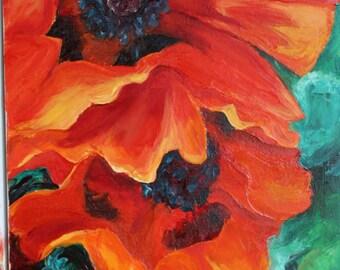 """ORIGINAL Orange Poppy painting oil bright colors 12""""x24"""""""
