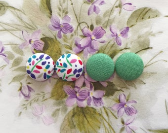 Button Earrings / Set of 2 / Fabric Covered / Gift Ideas / Wholesale Earrings / Bridal Shower / Wedding / USA Made / Handmade Accessories