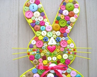 Easter Bunny Wreath, Bunny Rabbit Wall Decor, Easter Decor, Baby Decor, Button Wall Hanging, Button Wall Art, Nursery Decor, Childs Room