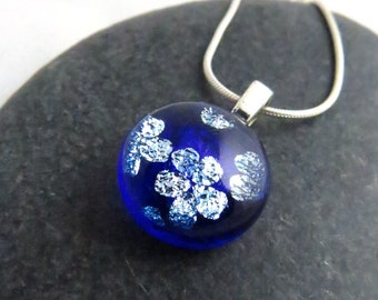 Blue Glass Pendant - Midnight Blossoms - Dichroic Glass Jewelry - Ready to Ship