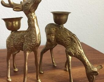 Vintage Brass Deer Candlestick Holders, Brass Stag and Doe, Vintage Holiday Home Decor, Woodland Animal Decor