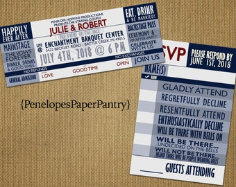 4th of July Concert TIcket Wedding Invitations,Patriotic,Red White &Blue,Music Theme,Unique, Fun,Opt RSVP Card,Customizable With Envelopes