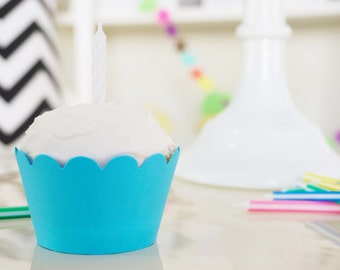 ELECTRIC BLUE Cupcake Wrappers - Set of 12
