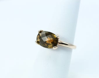 Smoky Quartz Crystal Ring, Rose Gold or Silver finish,  Italian Jewelry