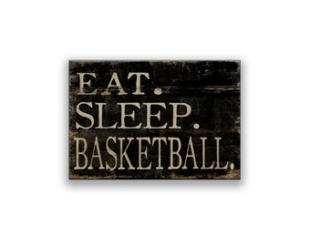 Eat Sleep Basketball wooden box sign 6x10x2 inches coach gifts basketball art baseball decor sports decor basketball gifts sports gifts