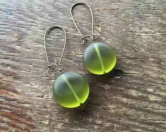 Matte Green Glass Coin Earrings