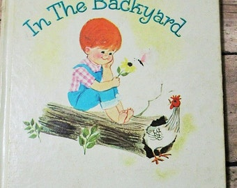Something's in the Backyard-Vintage Children's book-Whitman Tell-a-Tale book-Ethel Wynn-Children's vintage story book-Tiny Tot tale
