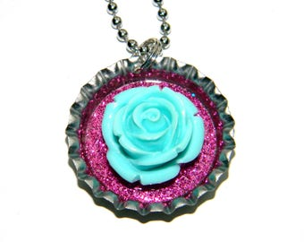 NEW 3D Flower - Bottle Cap Necklace