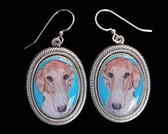 Borzoi Russian Wolfhound Original Art Earrings