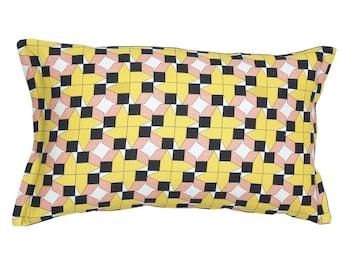 Geometric cushion, decorative pillows, housewarming gift, black and yellow cushions, Scandinavian pattern, bedroom decor, soft furnishings