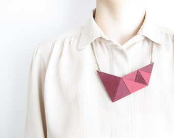 Pink leather Necklace Geometric leather necklace Leather bib necklace Summer necklace