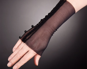 Short Black Lace Gloves with Beads,Short Black Gloves,Short Lace Gloves,Black lace gloves,Fingerless Lace gloves,lace gloves