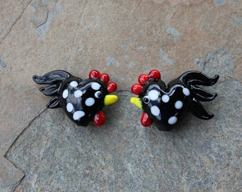Spotted large rooster beads - 2 black and white chickens - lampwork glass - loose beads for jewelry and crafts DIY