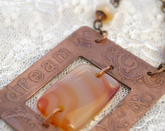 Etched Copper with Carnelian Necklace - dream