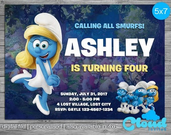 Smurfs Invitation Smurfs Party Smurfs Birthday Invitation