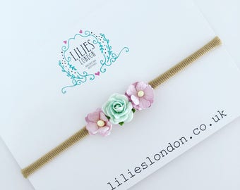Mint and lilac, rose headband