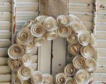 "11 - 12"" Book Wreath / Paper Rose Wreath / Book Lover Decor / Romantic                                   Wedding Decor"