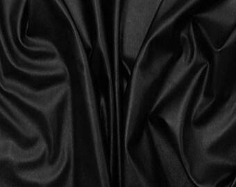 Black Faux Vegan Leather Fabric **UK Seller**