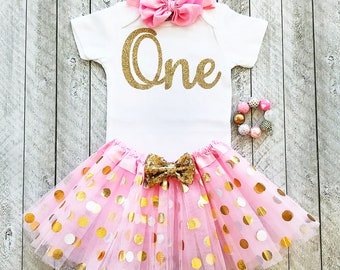 Pink and gold first birthday outfit Pink and gold tutu One year old outfit girl Pink and gold 1st birthday Baby girl 1st birthday outfit