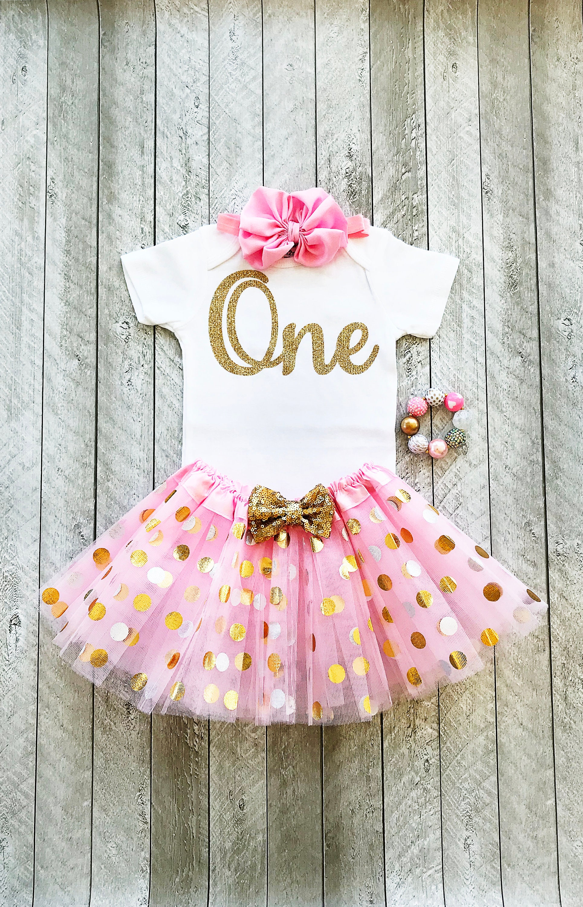Pink and gold first birthday outfit Pink and gold tutu e