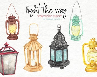 Watercolor Clip Art - Lanterns - Instant Download - Personal Use - Light - Lamp - Colorful - Bulb - Oil Lamp -Chinese Lantern