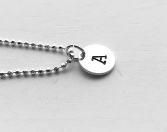 Initial Necklace, Sterling Silver, Letter A Necklace, Personalized Jewelry, All Letters Available, Hand Stamped Initial Charm