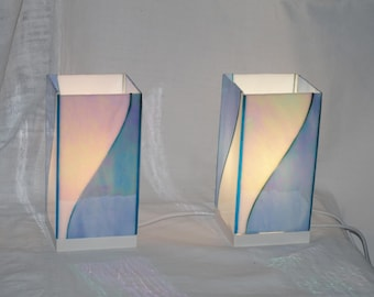 Pair of lamps stained glass blue white Glasmalerei lamp, Stained glass lamp