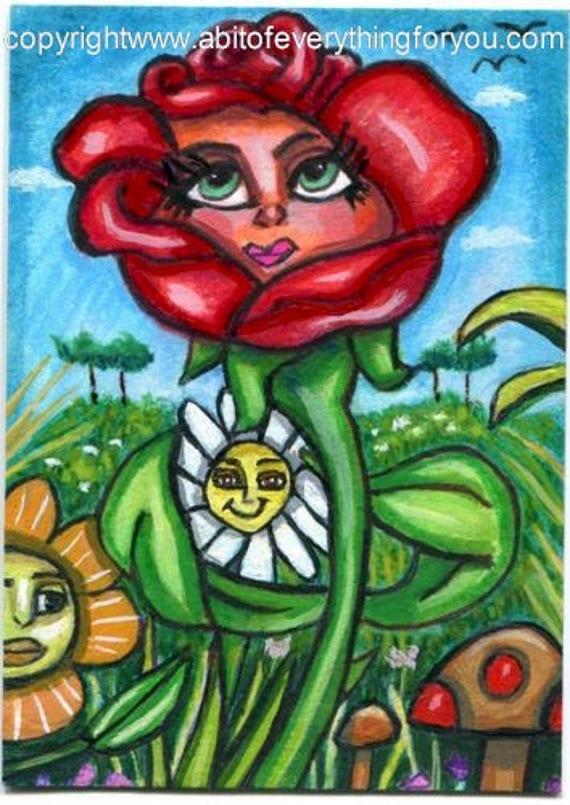 whimsical red rose magic flower garden original aceo mini art painting miniature fantasy fairytale creatures artwork Elizavella Bowers
