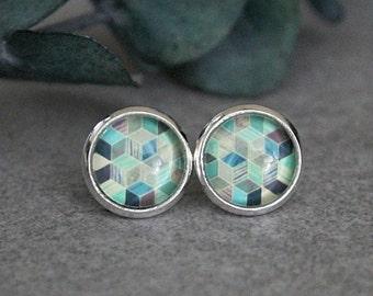 Green Stud Earrings, Blue Stud Earrings, Green Earrings, Geometric Earrings, Silver Stud Earrings, Green Post Earrings, 10MM Earrings