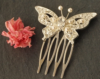 Diamante Pearl Butterfly Wedding Comb | Pearl Hair Comb | Wedding Hair Accessories |  Mini Comb | Pearl Bridal Hair Comb | Bridesmaid Comb