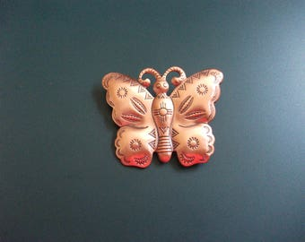 Vintage Southwestern Etched Copper Butterfly Brooch Pin