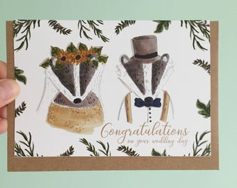 Mr and Mrs badger wedding card