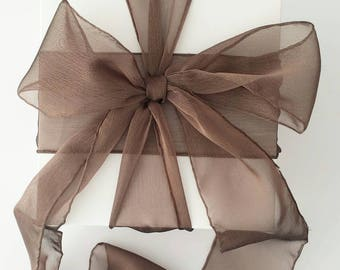 "Chocolate Ribbon. 3"" Wide Ribbon. Hand Torn and Frayed Brown Chiffon Ribbon. 3 Meter Lengths. Wedding Bouquet Ribbons. Gift Wrap. Frayed."