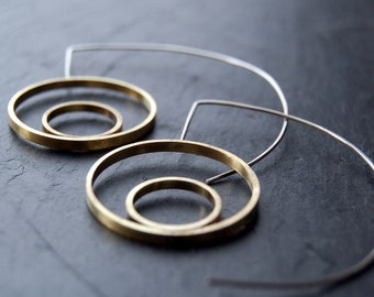 READY TO SHIP. Half moon earrings - silver and brass hoops