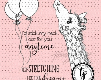 Giraffe with balloons and 2 sentiments (all separate)- instant download digital stamps by Tierra Jackson