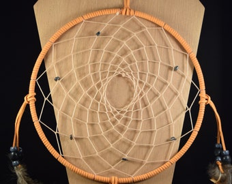 Large sized orange wrapped dreamcatcher with hematite beads, steel blue and black beads