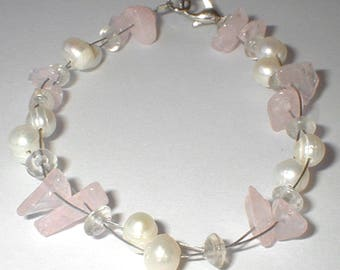 Rose quartz and pearl bracelet Rosenquarz und Perlenarmband pink bracelet Bracelet quartz rose et perle