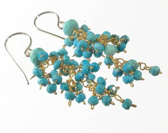 Turquoise Earrings Gold Turquoise Cluster Earrings Turquoise Cascade Earrings Gift For Her nikkimcl