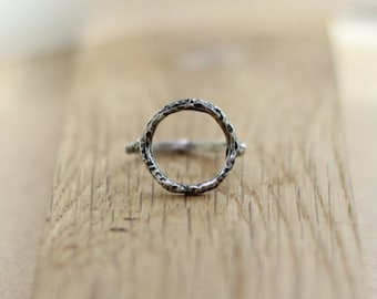 Open Circle Ring, Hammered Circle Ring, O Oxidized Silver Ring, Statement Ring, Round Ring, Rustic Ring