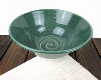 Green pottery bowl, ceramic serving bowl, pottery mixing bowl, pottery bowl handmade