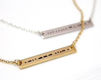 BFF Morse Code Best Friends Forever, Morse Code Necklace, Morse Code Jewelry, Silver Bar Necklace, BFF Necklace, Bridesmaid Gift