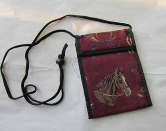 Tapestry Fabric HORSEHEAD on Burgundy Equestrian Wallet Purse w/Corded Strap made in USA