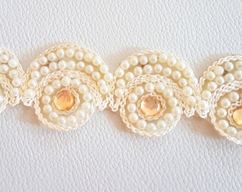 Beige Embroidered Lace Trim With Pearls And Beads, Approx. 38mm Wide - 140316L191
