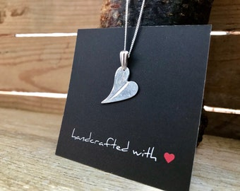 Small Fine Silver Feather Imprinted Heart