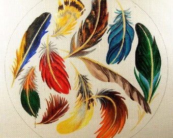Feathers Needlepoint 12 inch Round - Jody Designs