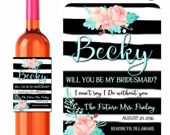Custom Wine Labels Watercolor Peonies Will You Be My Bridesmaid Maid of Honor Personalized Stickers